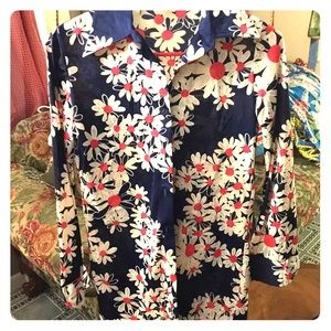 Tops - Fun 1960s Vintage Graphic Daisy Polyester Shirt